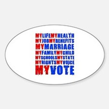 My Life My Vote Oval Decal