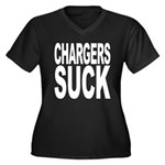 Chargers Suck Women's Plus Size V-Neck Dark T-Shir