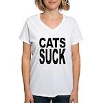 Cats Suck Women's V-Neck T-Shirt