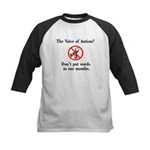 Don't Put Words in Our Mouths Kids Baseball Jersey