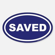 Blue Saved Oval Sticker (Euro)