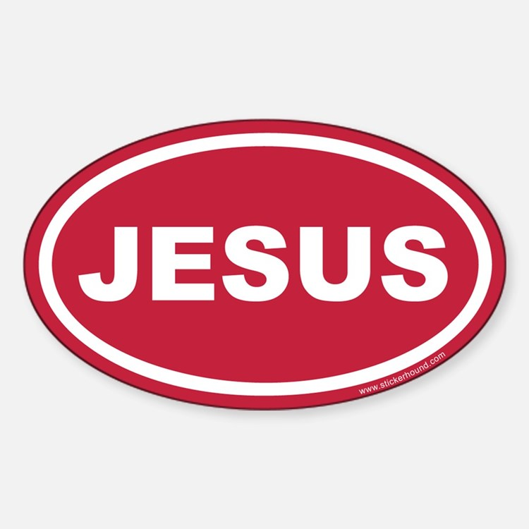 Red Jesus Oval Sticker (Euro)