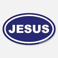 Blue Jesus Oval Sticker (Euro)