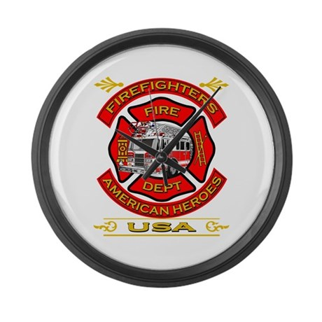 Firefighters~American Heroes Large Wall Clock