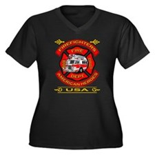 Firefighters~American Heroes Women's Plus Size V-N