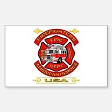 Firefighters~American Heroes Rectangle Decal
