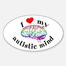 I Heart My Autistic Mind Oval Decal