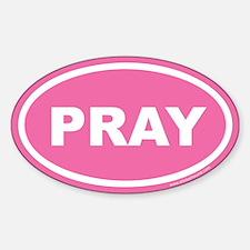 Pink Pray Oval Sticker (Euro)