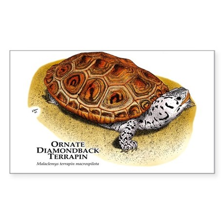 Ornate Diamondback Terrapin Rectangle Sticker