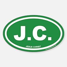 Green Jesus Christ Oval Sticker (Euro)