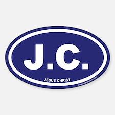 Blue Jesus Christ Oval Sticker (Euro)