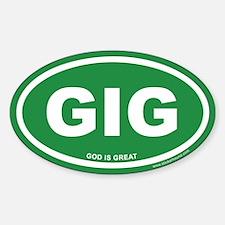 Green God is Great Oval Sticker (Euro)