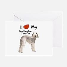 I Love My Bedlington Terrier Greeting Cards (Pk of