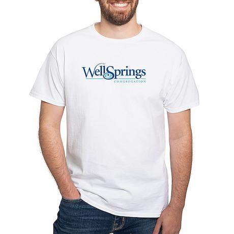 Wellsprings Front Logo Back URL White T-Shirt