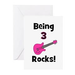 Being 3 Rocks! pink Greeting Cards (Pk of 20)
