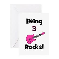 Being 3 Rocks! pink Greeting Card