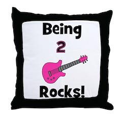 Being 2 Rocks! pink Throw Pillow