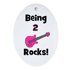 Being 2 Rocks! pink Oval Ornament