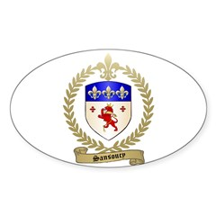 SANSOUCY Family Crest Oval Decal