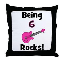 Being 6 Rocks! pink Throw Pillow