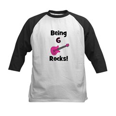 Being 6 Rocks! pink Kids Baseball Jersey