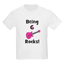 Being 6 Rocks! pink T-Shirt