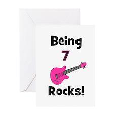Being 7 Rocks! pink Greeting Card