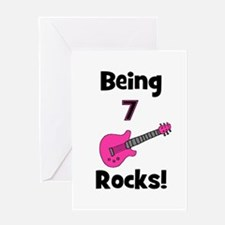 Being 7 Rocks! pink Greeting Card