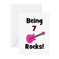 Being 7 Rocks! pink Greeting Cards (Pk of 10)