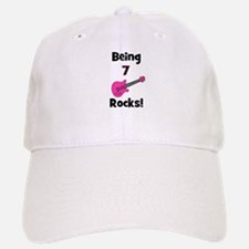 Being 7 Rocks! pink Baseball Baseball Cap