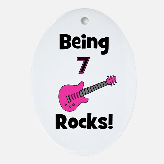 Being 7 Rocks! pink Oval Ornament