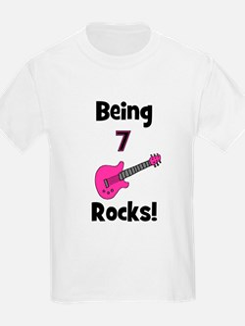 Being 7 Rocks! pink T-Shirt