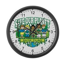 Earth Kids Rhode Island Large Wall Clock