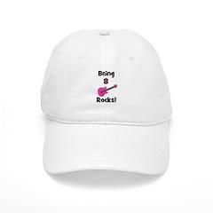 Being 8 Rocks! pink Baseball Cap
