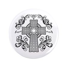 "Celtic Christian Cross 3.5"" Button"
