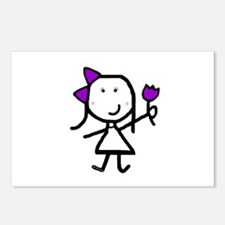 Girl & Purple Flower Postcards (Package of 8)