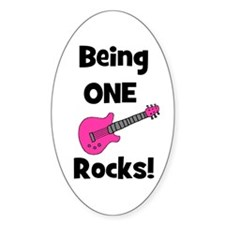 Being ONE Rocks! pink Oval Decal