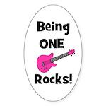 Being ONE Rocks! pink Oval Sticker