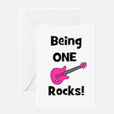 Being ONE Rocks! pink Greeting Card