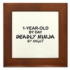 1-Year-Old Deadly Ninja by Night Framed Tile