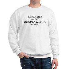 1-Year-Old Deadly Ninja by Night Sweatshirt