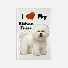 I Love My Bichon Frise Rectangle Magnet