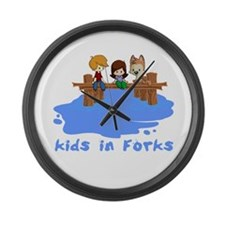 Kids in Forks Large Wall Clock