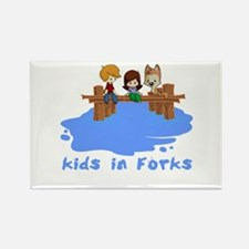 Kids in Forks Rectangle Magnet