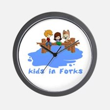 Kids in Forks Wall Clock