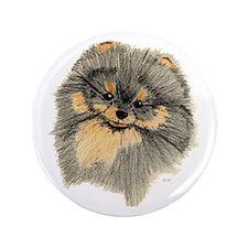 """Pomeranian Black & Tan pencil 3.5"""" Button"""