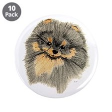 "Pomeranian Black & Tan pencil 3.5"" Button (10 pack"