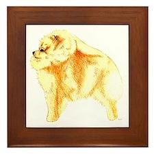 Pomeranian Pup Profile Orange Framed Tile
