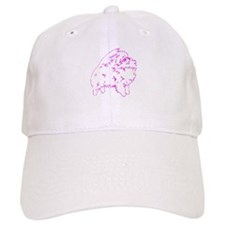 Pom Outline Dk Pink Baseball Cap