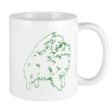 Pom Outline Green Mug